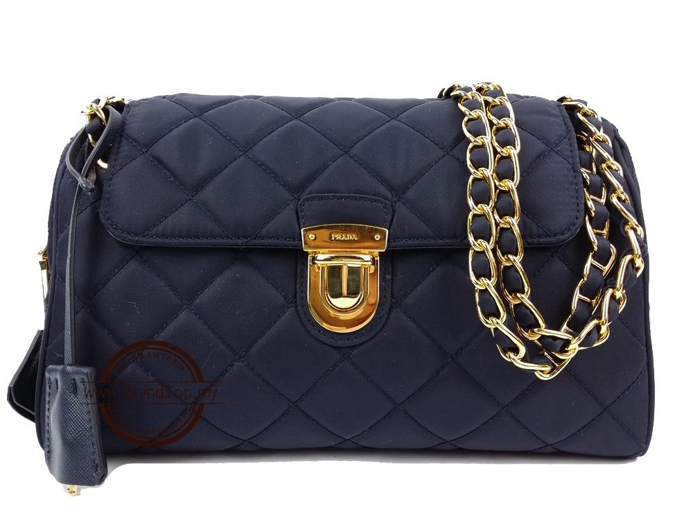 3d04a795935c SOLD OUT BRAND NEW Prada Blue Tessuto Impuntu Chain Bag BR4965