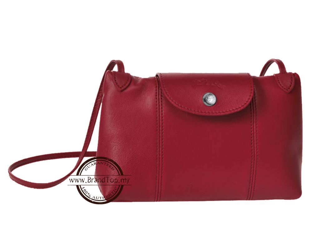 Brand New Longchamp Le Pliage Red Cuir Crossbody Bag