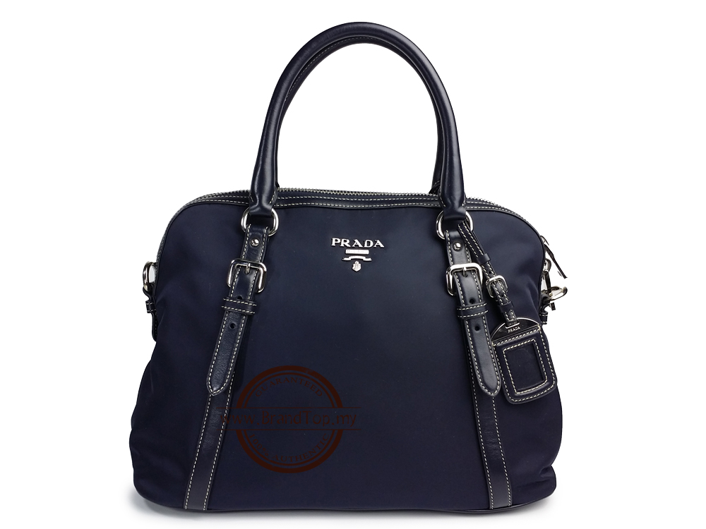 4190f1753ed6 SOLD OUT BRAND NEW Prada Blue Tessuto+Soft Calf Leather Two Way Tote BL0912