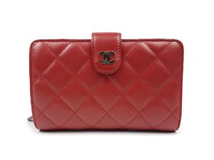 1b751b42c01c SOLD OUT Chanel Red Lambskin Matelasse Bi-Fold Wallet
