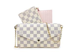 SOLD OUT Louis Vuitton Damier Azur Pochette Felicie Chain Wallet N63106 830fe9e2841a2