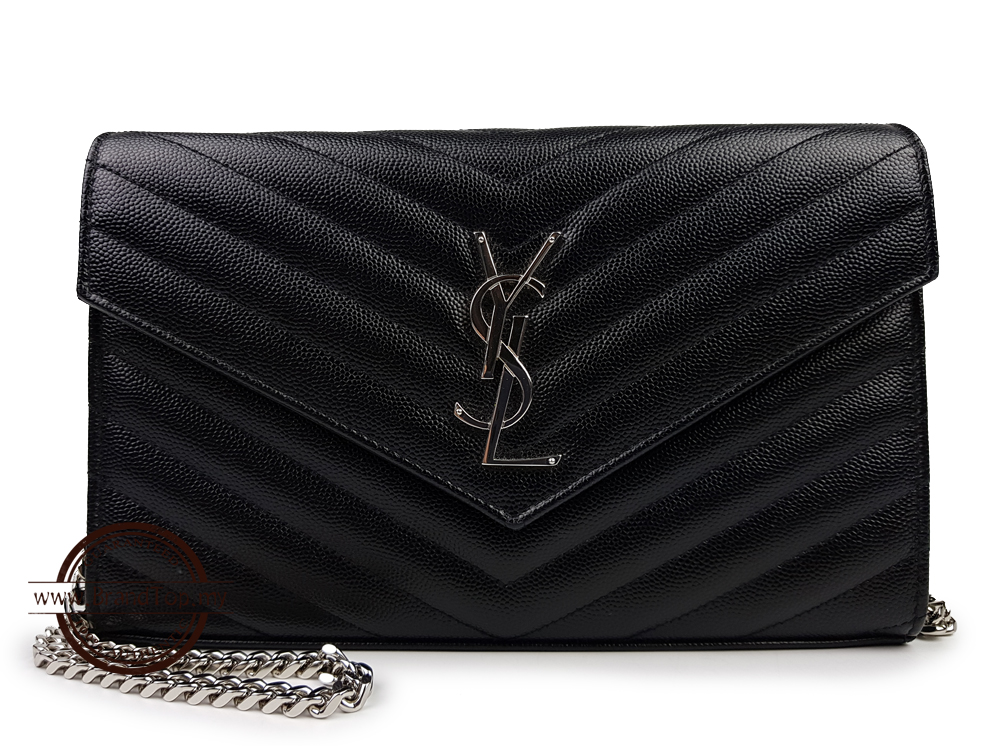 05e57ab538 SOLD OUT YSL Yves Saint Laurent Monogram Chain Wallet Silver