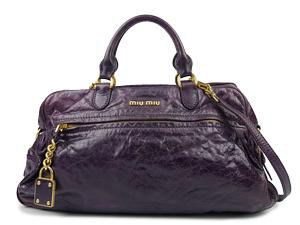 2ab5bbeebda8 Miu Miu Purple Leather Two Way Tote
